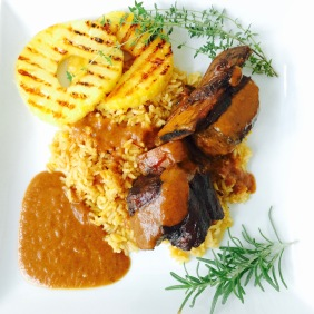 Braised Island Short Ribs with Grilled Pineapple and Yellow Rice