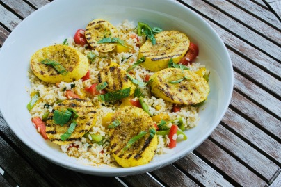Tri-Pepper Coconut Rice with Grilled Summer Squash