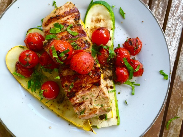 Grilled Salmon over Summer Squash and Zucchini with Sautéed Grape Tomatoes