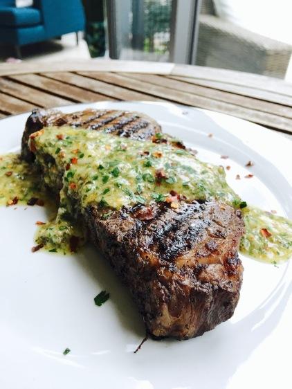 Malbec-Marinated Argentine Steak with Chimichurri