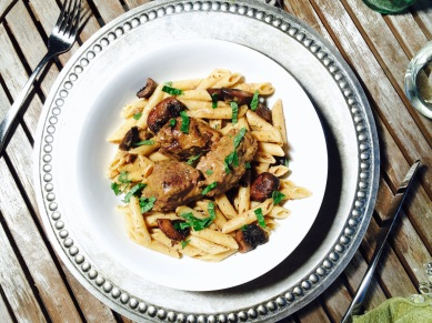Drunken Lamb Mostaccioli with Baby Bella Mushrooms in a White Truffle Goat Cheese Sauce