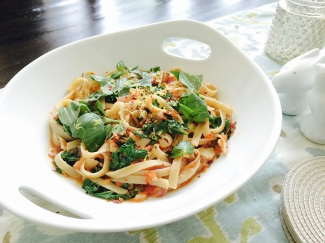 Fettuccine in a Light Tomato Sauce