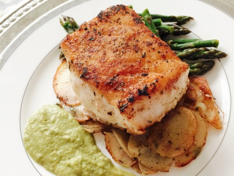 Chilean Seabass with Scalloped Potatoes and a Leek and Asparagus Puree